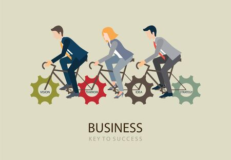 cooperating: Businessman and business woman riding bicycle with gears on space, teamwork,  business success conceptual vector illustration. Illustration
