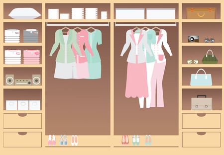 woman closet: Flat Design walk in closet, interior design, Clothing store, Boutique indoor, conceptual Vector illustration. Illustration