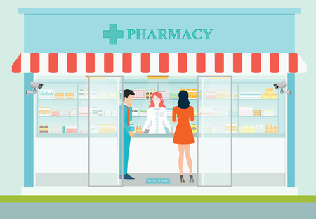 Female pharmacist at the counter in a pharmacy opposite of shelves with medicines, building exterior front view and interior, Health care conceptual vector illustration.