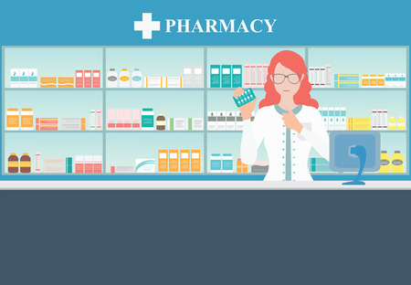 drugs pills: Female pharmacist at the counter in a pharmacy opposite of shelves with medicines, Health care conceptual vector illustration.
