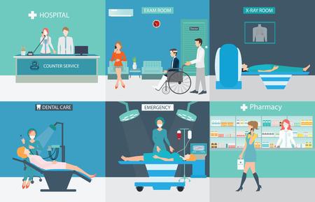 recepcion: Información gráfica de los servicios médicos con médicos y pacientes en hospitales, cuidado dental, rayos X, emergencia, farmacia, cuidado de la salud ilustración vectorial conceptual.