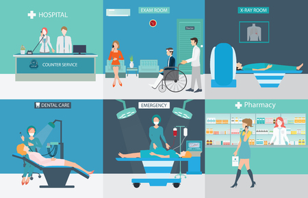 Info graphic of Medical services with doctors and patients in hospitals, dental care, x-ray, emergency, pharmacy, health care conceptual vector illustration.