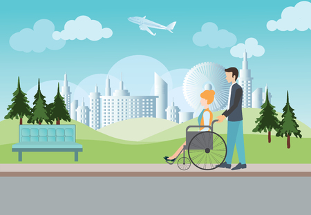 lovely couple: Smart man pushing wheelchair with disabled woman on nature blue sky background. Concept for Lovely couple, growing together or happy retiring, vector illustration.