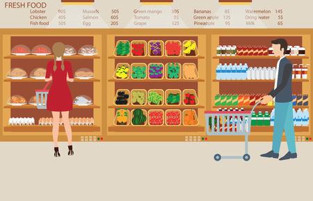 mujer en el supermercado: La gente en la tienda de comestibles supermercado con alimentos frescos, frutas, verduras, bebidas, ilustración vectorial.