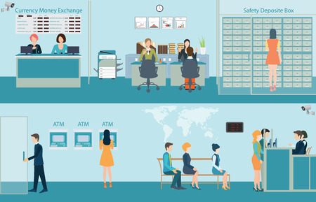 Bank building interior, counter desk, cashier, consulting, presenting, money currency exchange, financial services, ATM and safety deposit box with CCTV security camera, Banking concept vector illustration.