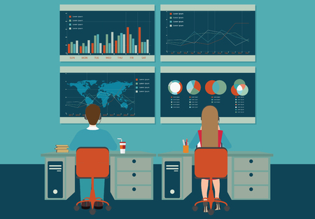 personal development: Web analytics, information and development, business statistic, conceptual vector illustration.
