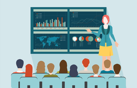 Businesswoman in suit making presentation explaining charts on board. Business seminar, Business meeting, teamwork, planning, conference, brainstorming in flat style, conceptual vector illustration.