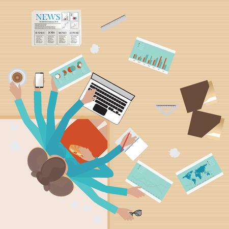 Empresaria ocupada trabajando duro en su escritorio en la oficina con una gran cantidad de papeleo, hombre araña, negocios conceptual en el trabajo duro. Foto de archivo - 49813877