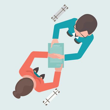 hombres ejecutivos: Vista superior de dos personas agitando sus manos en el papel contrato después de acuerdo, asociación exitosa ilustración vectorial conceptual. Vectores