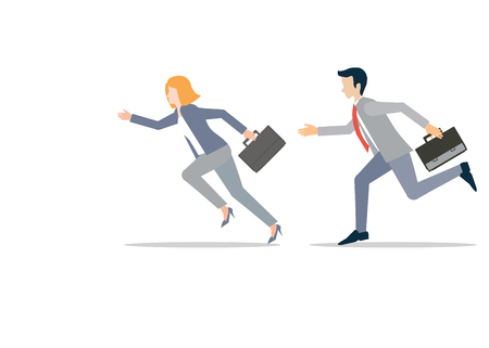 Business man and business woman in rush competing run, business competition conceptual vector illustration. Stock Illustratie