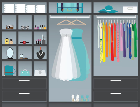 Flat Design walk in closet, interior design, Clothing store, Boutique indoor with cosmetics, woman fashion conceptual Vector illustration. Stock Illustratie