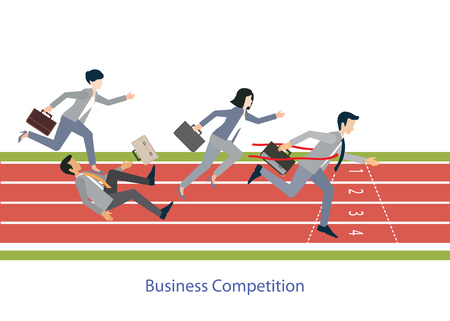 Business people running on red rubber track, business competition, conceptual vector illustration. Çizim