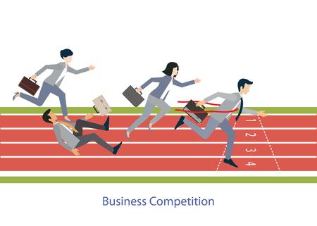 Geschäftsleute, die auf roten Gummikette, Business-Wettbewerb, konzeptionelle Vektor-Illustration läuft.