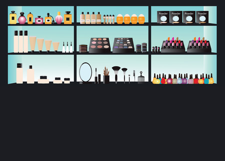 sunblock: Glamour cosmetics make up on shelf, powder, foundation, perfume,sunblock,lipstick display,healthcare vector illustration. Illustration