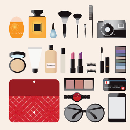 cosmetics bag: Makeup cosmetics bag with accessories and Personal Belongings Illustration