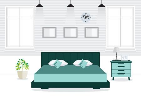 bedroom design: Flat Design Double Bedroom wth furniture, Bedroom interior, conceptual Vector illustration.