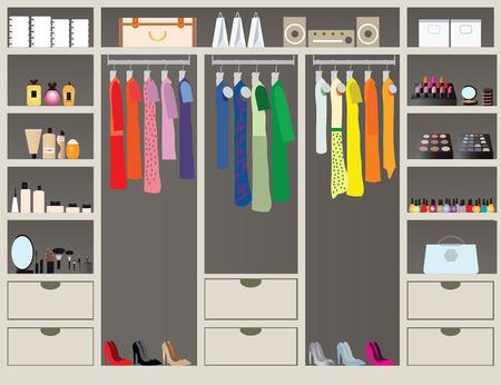 ropa casual: Pie plano Diseño in closet con estantes para accesorios y cosmética maquillaje, diseño de interiores, tienda de ropa, Boutique cubierta de telas de la mujer, ilustración vectorial conceptual.