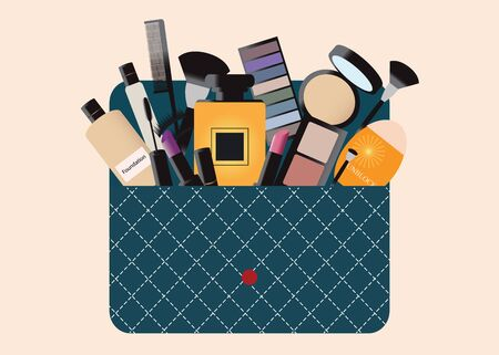 belongings: Makeup cosmetics bag with accessories and Personal Belongings, perfume, sunblock cream, Eyelashes, eyeshadow, lipstick, brushes, vector illustration.