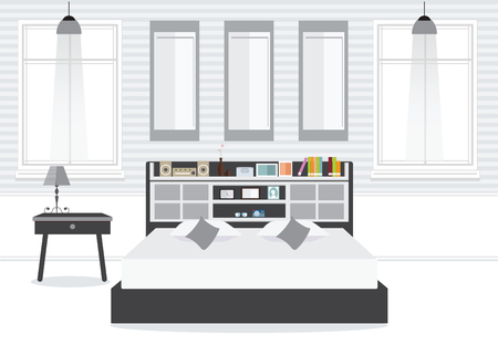 sofa: Flat Design Double Bedroom wth furniture, Bedroom interior, conceptual Vector illustration.