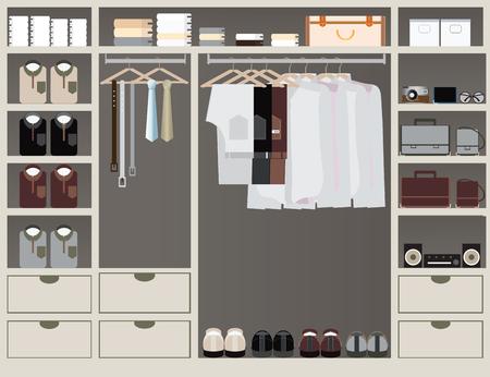 Flat Design walk in closet, interior design, Clothing store, Boutique indoor of men's cloths., conceptual Vector illustration.