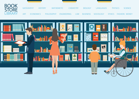 Various character of people in Bookstore or library with bookshelves, adult and teenager, business people and wheel chair of disabled woman, vector illustration. Ilustração