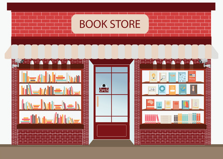 Bookstore with bookshelves, exterior building vector illustration.