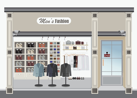 casual clothing: Clothing store, Boutique indoor of mens cloths fashion, tailor shop, exterior building, vector illustration.