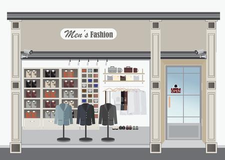 Kledingwinkel, Boutique indoor van de mannen kleding mode, kleermaker, exterieur gebouw, vector illustratie.