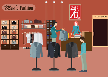 clothing shop: Clothing store, Boutique indoor of mens cloths fashion, tailor shop, interior building, vector illustration.