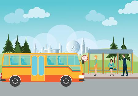 Les gens attendent un bus à l'arrêt de bus, conceptuel illustration vectorielle.