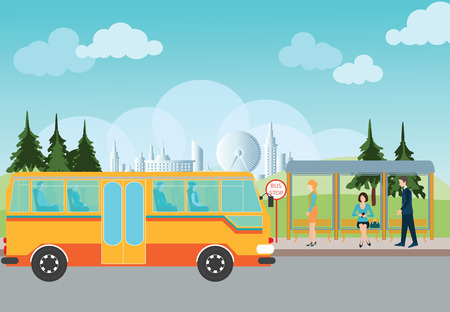 cartoon businessman: People waiting for a bus at the bus stop,conceptual vector illustration.
