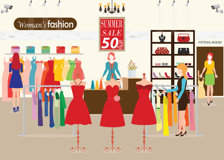 dummies: Women shopping in a clothing store with Dummies show, Shopping fashion, clearance sale, accessories on sale. Flat style vector illustration.