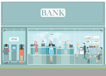 currencies: Bank building exterior and interior counter desk, cashier, consulting, money currency exchange, financial services, ATM, safety deposit box with CCTV security camera, banking vector illustration.