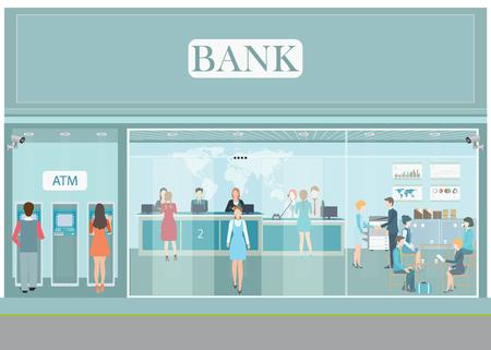 Bank gebouw exterieur en interieur teller bureau, kassier, consulting, geld wisselkantoor, financiële diensten, ATM, een kluisje met CCTV bewakingscamera, het bankwezen vector illustratie.