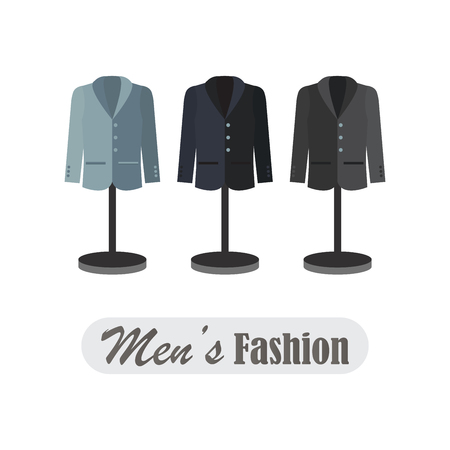 dummies: Dummies show a set of mens business wear, vector illustration. Illustration