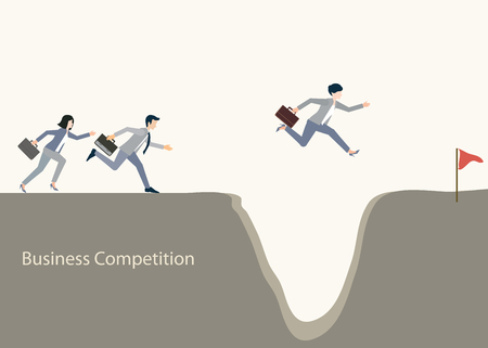 teamwork cartoon: Business people jumping over gap, business competition, conceptual vector illustration.