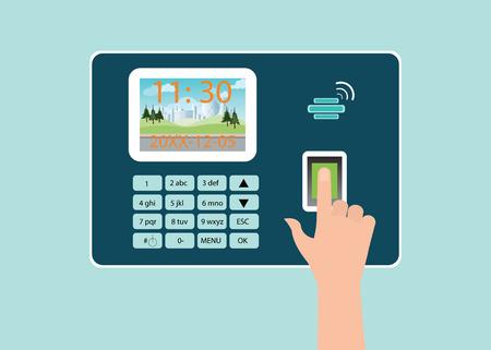 écran tactile humain main avec empreintes digitales en temps machine enregistreur, illustration vectorielle.
