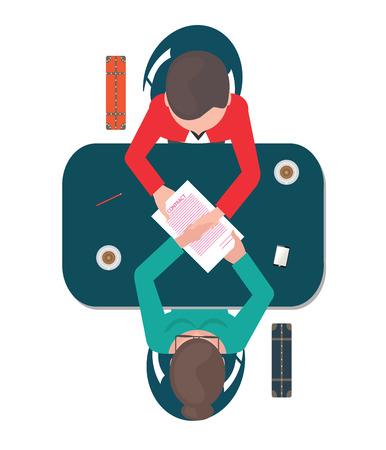 Hoogste mening van twee bedrijfsmensen die hun handen op de lijst na overeenkomst schudden, bedrijfs succesvolle vennootschap conceptuele vectorillustratie. Vector Illustratie