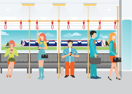 people traveling: People traveling on the subway, inside a subway train, transportation vector illustration.