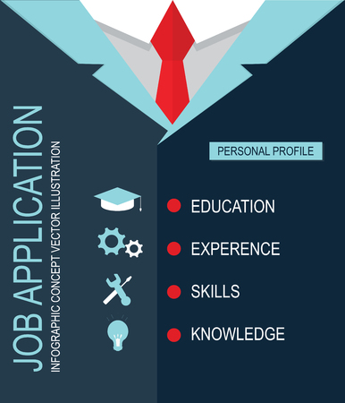 job application: Job application, CV personal profile education, knowledge, experience, skill design with business suit background, vector illustraion.