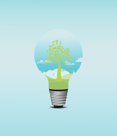 overuse: Green Tree in light Bulb, Eco Concept, Isolated On White Background, Vector Illustration