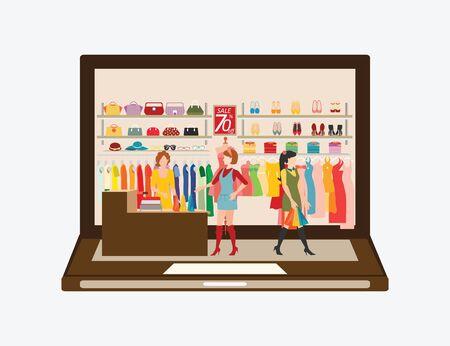 Frauen in einem Bekleidungsgeschäft auf dem Laptop-Shopping, Shopping Mode, Taschen, Schuhe, Accessoires. Online Fashion Store Vektor-Illustration.