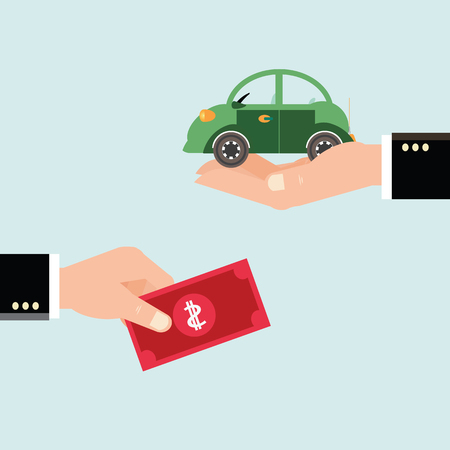 car in garage: Car and dollar notes sitting on his hand, Investments in real estate, construction, Buying a home for the money, Property insurance, business conceptual vector illustration.