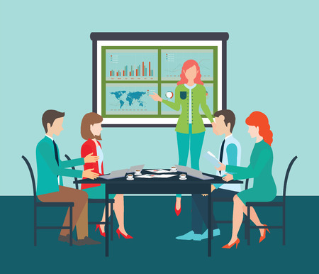 geeky: Businesswoman in suit making presentation explaining charts on board. Business seminar, Business meeting, teamwork, planning, conference, brainstorming in flat style, conceptual vector illustration.