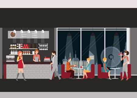 커피 숍의 정보 그래픽. 커피, 남자의 컵과 커피 숍에서 만나는 여성 바리 스타, 남자는 여자, 웨이트리스, 작업하는 사람, 벡터 일러스트와 함께 데이 일러스트