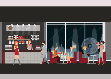 Info graphic of coffee shop . Barista with cup of coffee, man and women meeting in coffee shop, man dating with woman, waitress, working man,  vector illustration. Ilustração