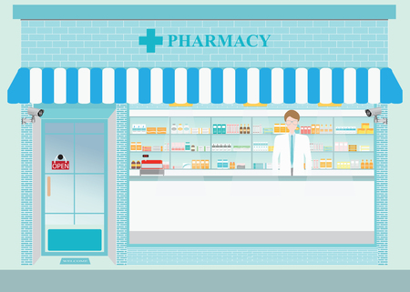 druggist: Male pharmacist at the counter in a pharmacy opposite of shelves with medicines, building exterior front view and interior, drug store Health care conceptual vector illustration. Illustration