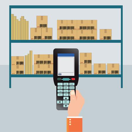 Handheld Mobile Computer in hand, Bar Code scanner, flat design vector illustration.