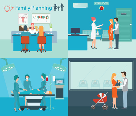 gynecologist: Info graphic of Medical services, family planning at the hospital, pregnant women, newborn baby,  stroller, emergency room, exam room, health care conceptual vector illustration.