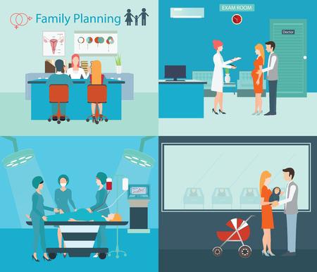 Información gráfica de los servicios médicos, la planificación familiar en el hospital, las mujeres embarazadas, bebé recién nacido, coche, sala de emergencia, sala de examen, la asistencia sanitaria ilustración vectorial conceptual. Ilustración de vector